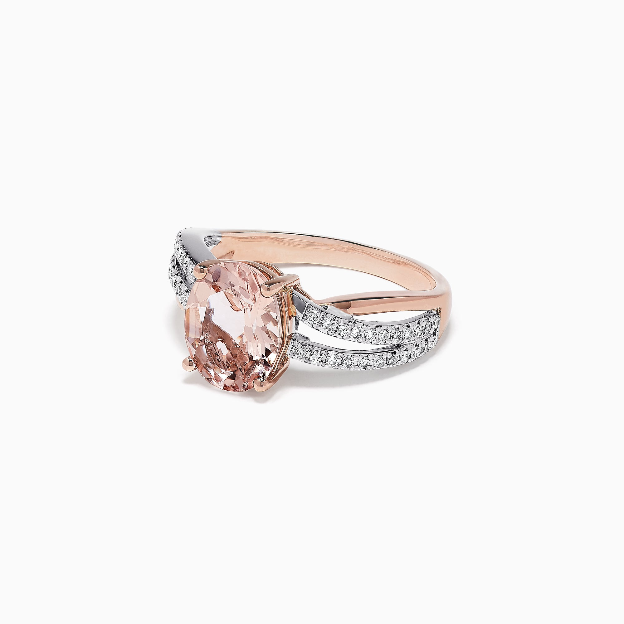 Effy Blush 14K Two Tone Gold Morganite and Diamond Ring, 2.66 TCW