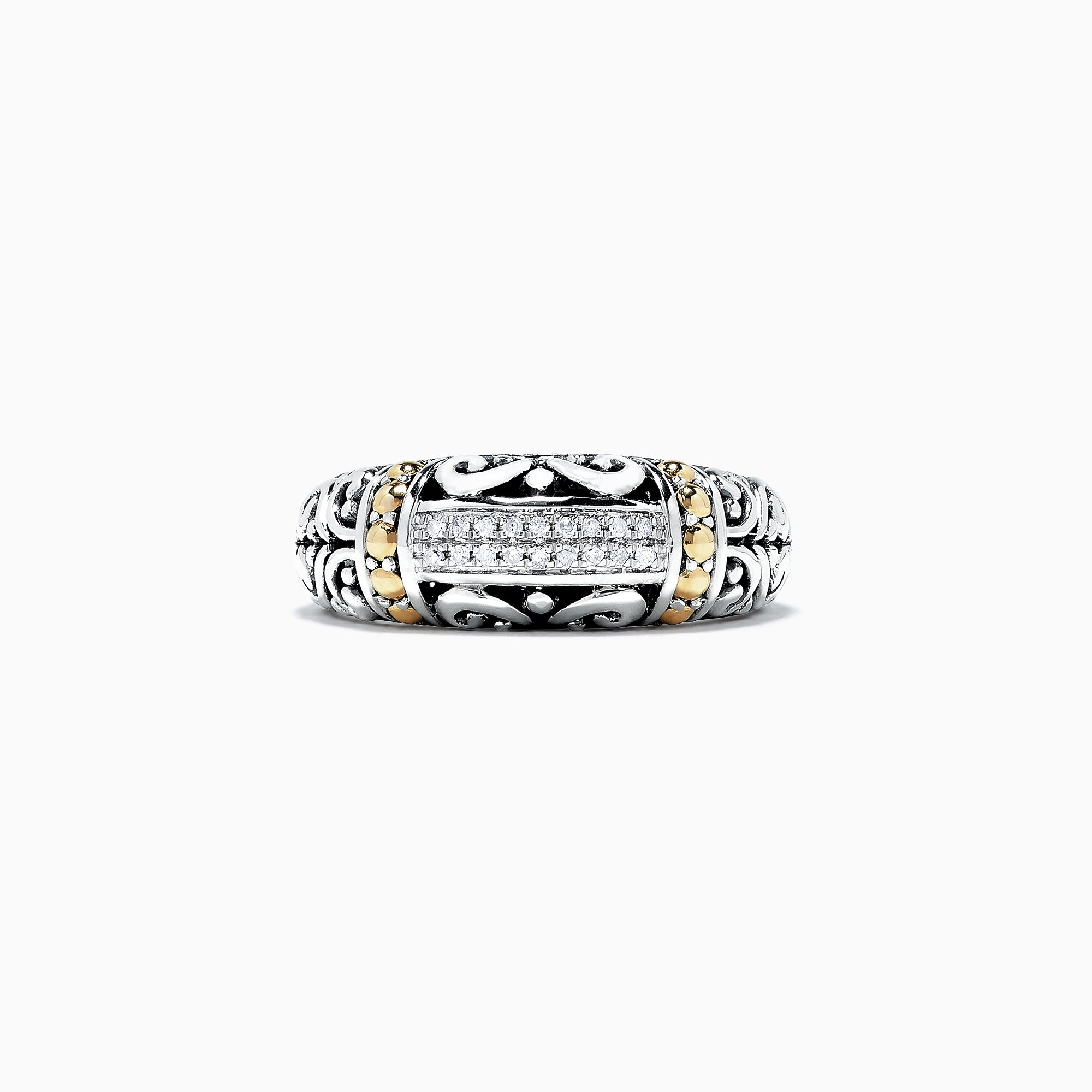 Effy 925 Classic Silver & Gold Diamond Ring, .07 TCW
