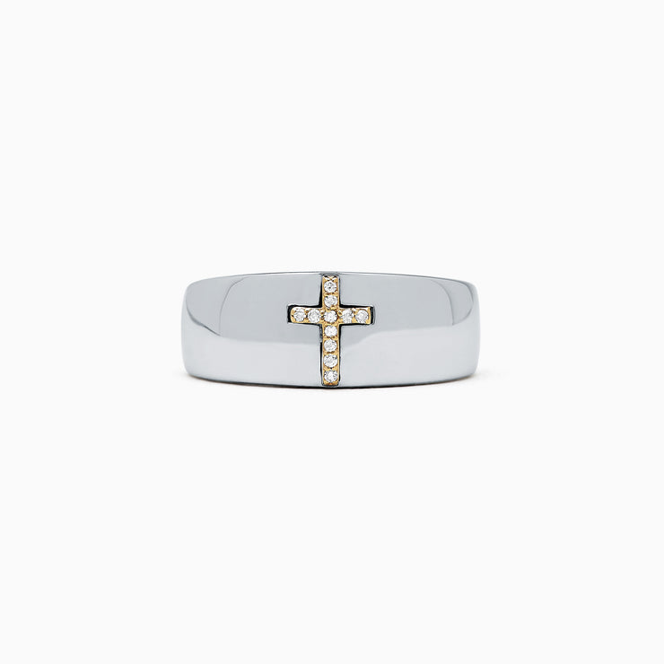 Effy Men's Sterling Silver and 14K Gold Diamond Cross Ring, 0.06 TCW