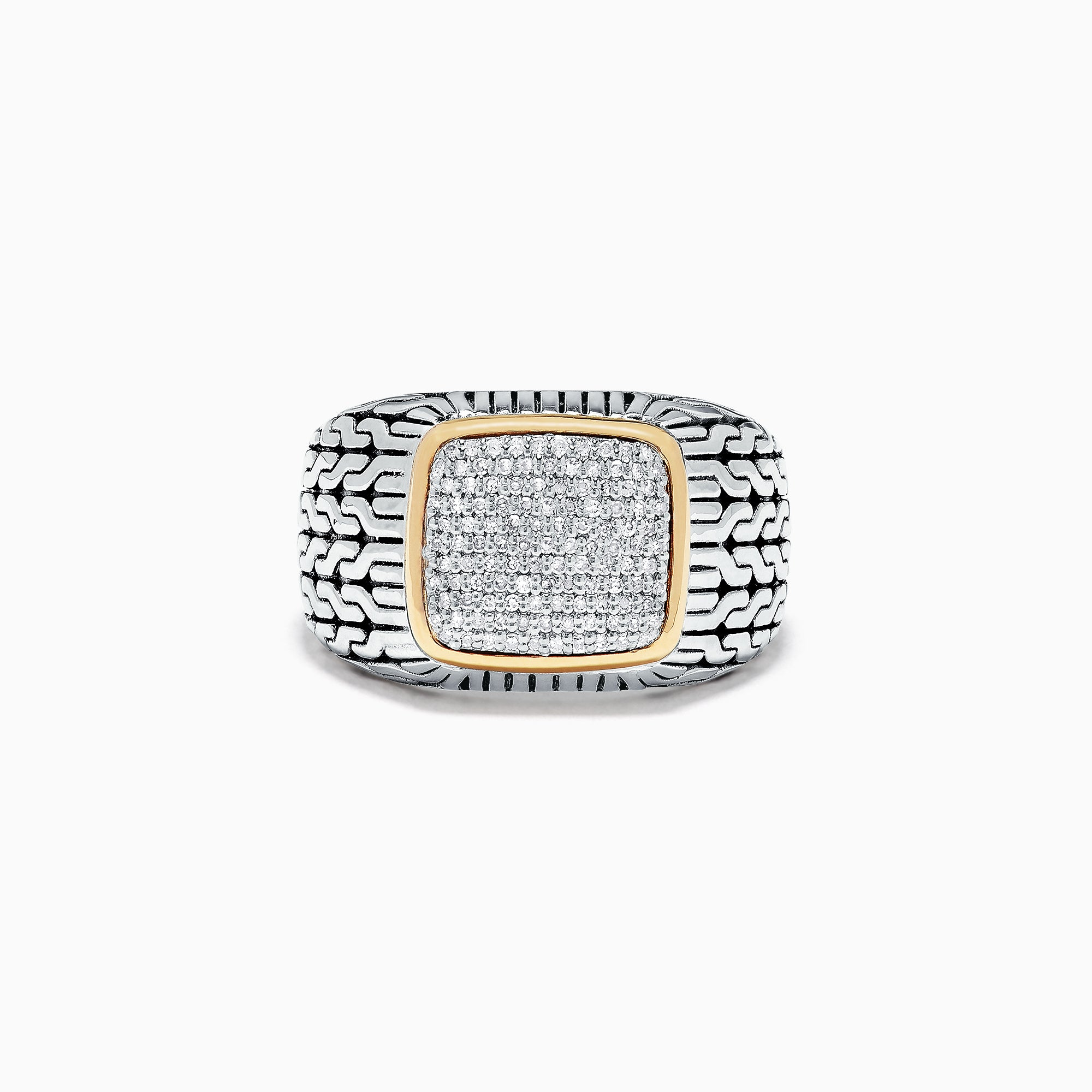 Effy Men's Sterling Silver and 18K Yellow Gold White Diamond Ring, .34 TCW