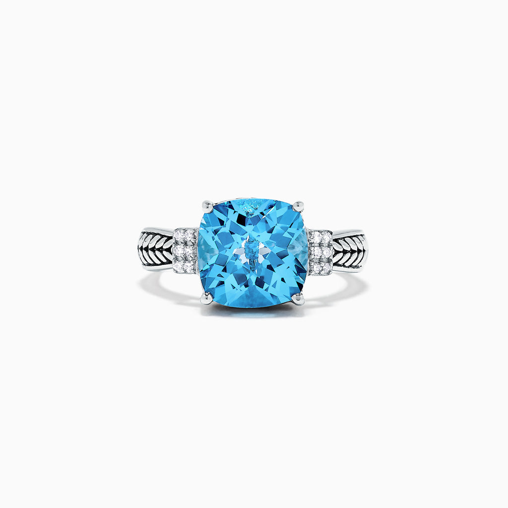 Effy 925 Sterling Silver Blue Topaz and Diamond Ring, 5.05 TCW