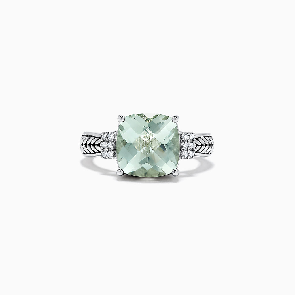 Effy 925 Sterling Silver Green Amethyst and Diamond Ring 4.06 TCW