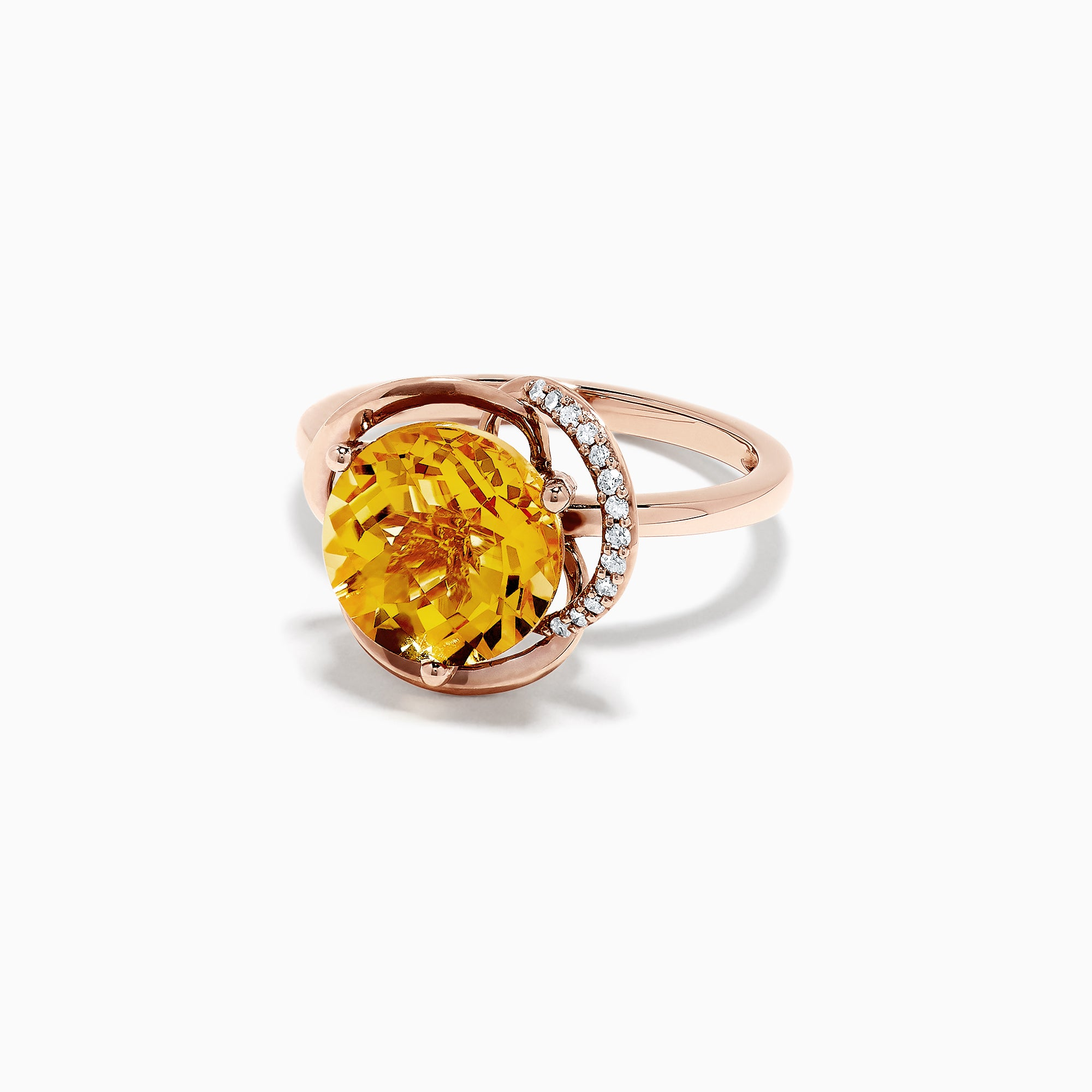 Effy Sunset 14K Rose Gold Citrine and Diamond Ring, 3.15 TCW