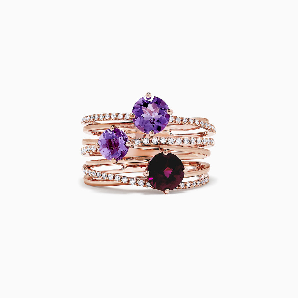 Effy 14K Rose Gold Amethyst and Rhodolite Diamond Ring, 2.35 TCW