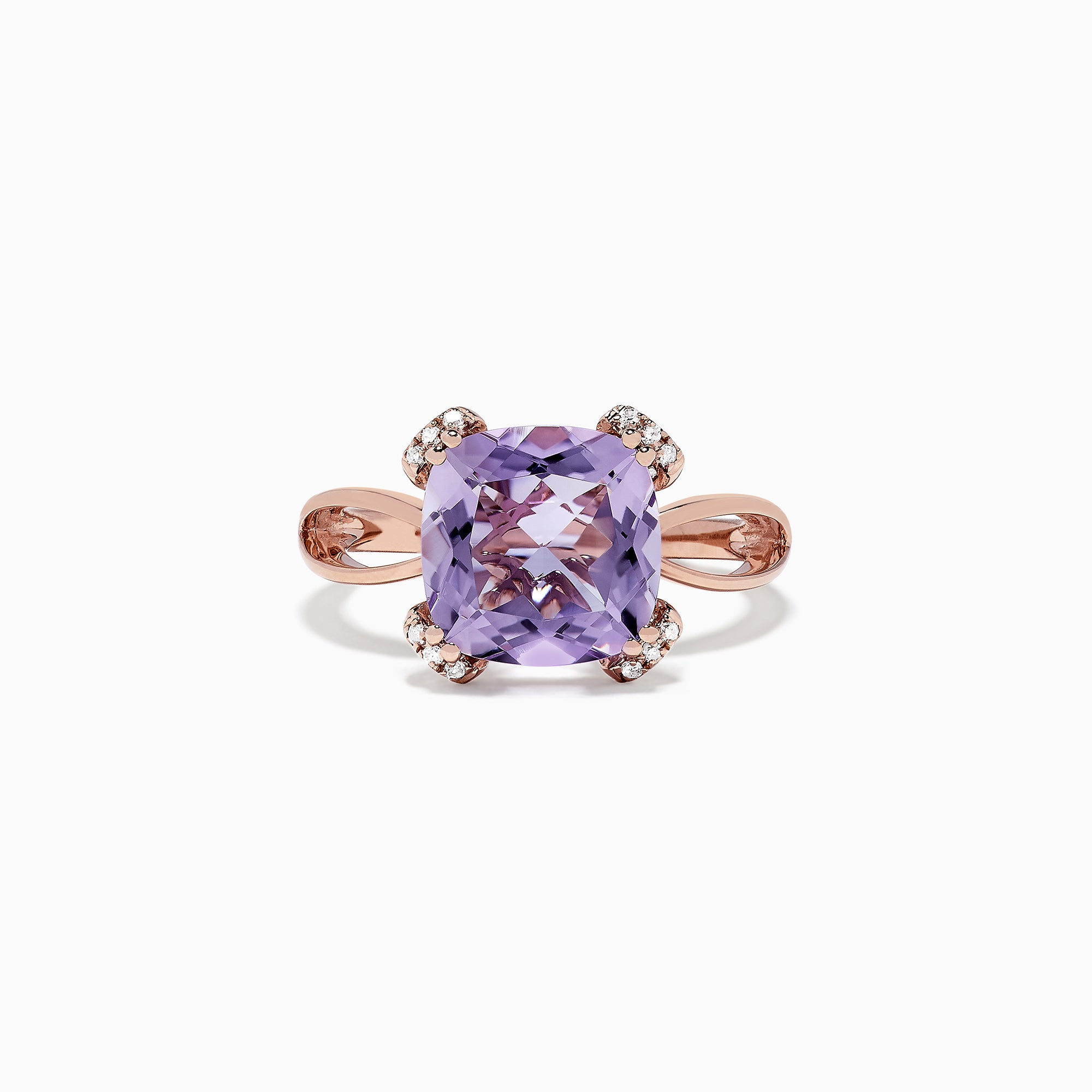 Effy 14K Rose Gold Pink Amethyst and Diamond Ring, 4.00 TCW