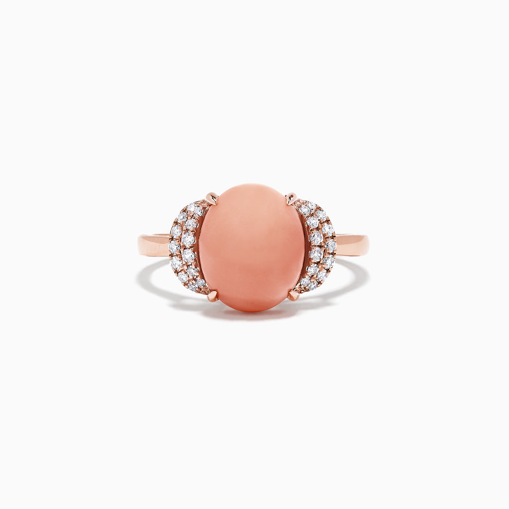 Effy 14K Rose Gold Coral and Diamond Ring, 2.84 TCW