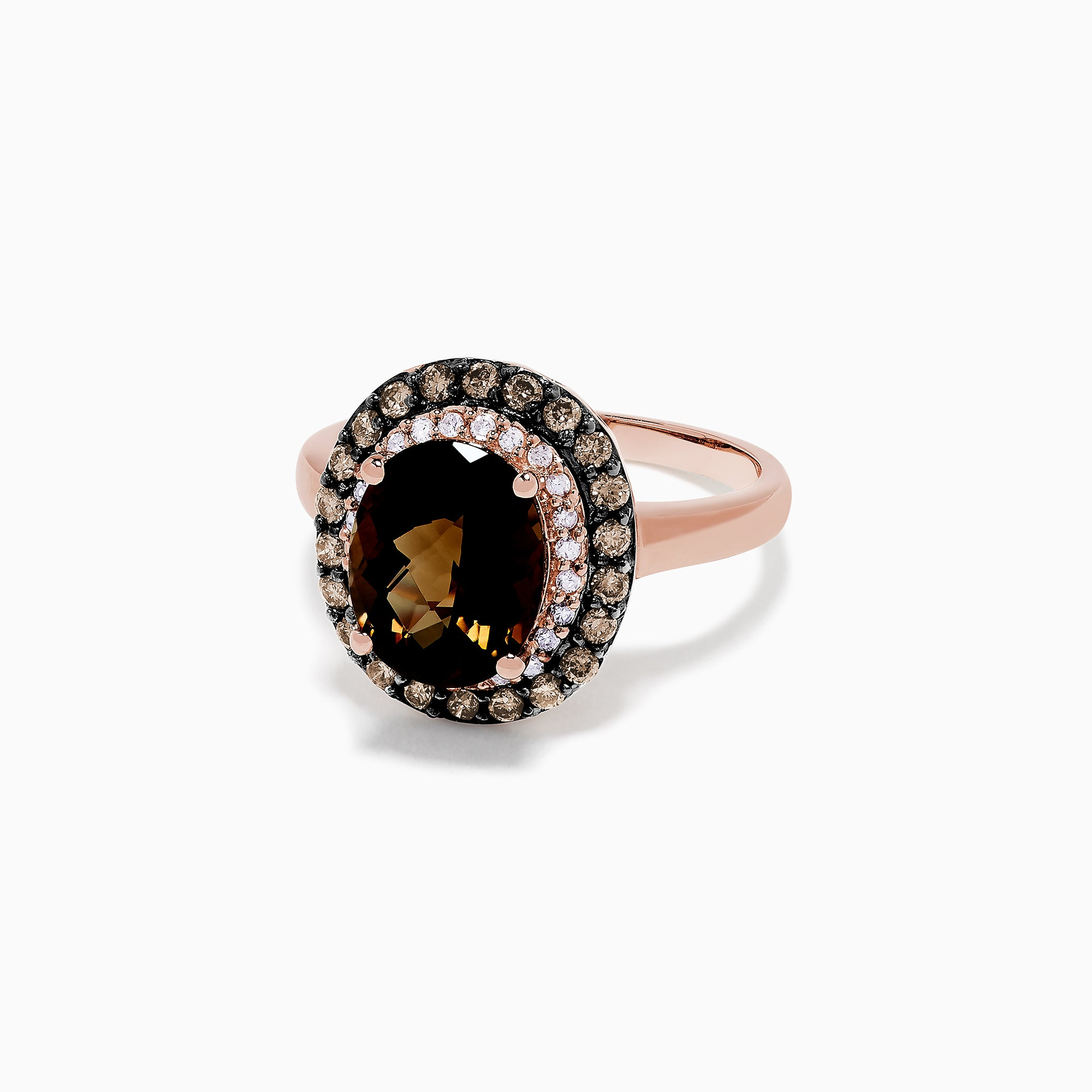 Effy 14K Rose Gold Smokey Quartz and Diamond Ring, 2.85 TCW