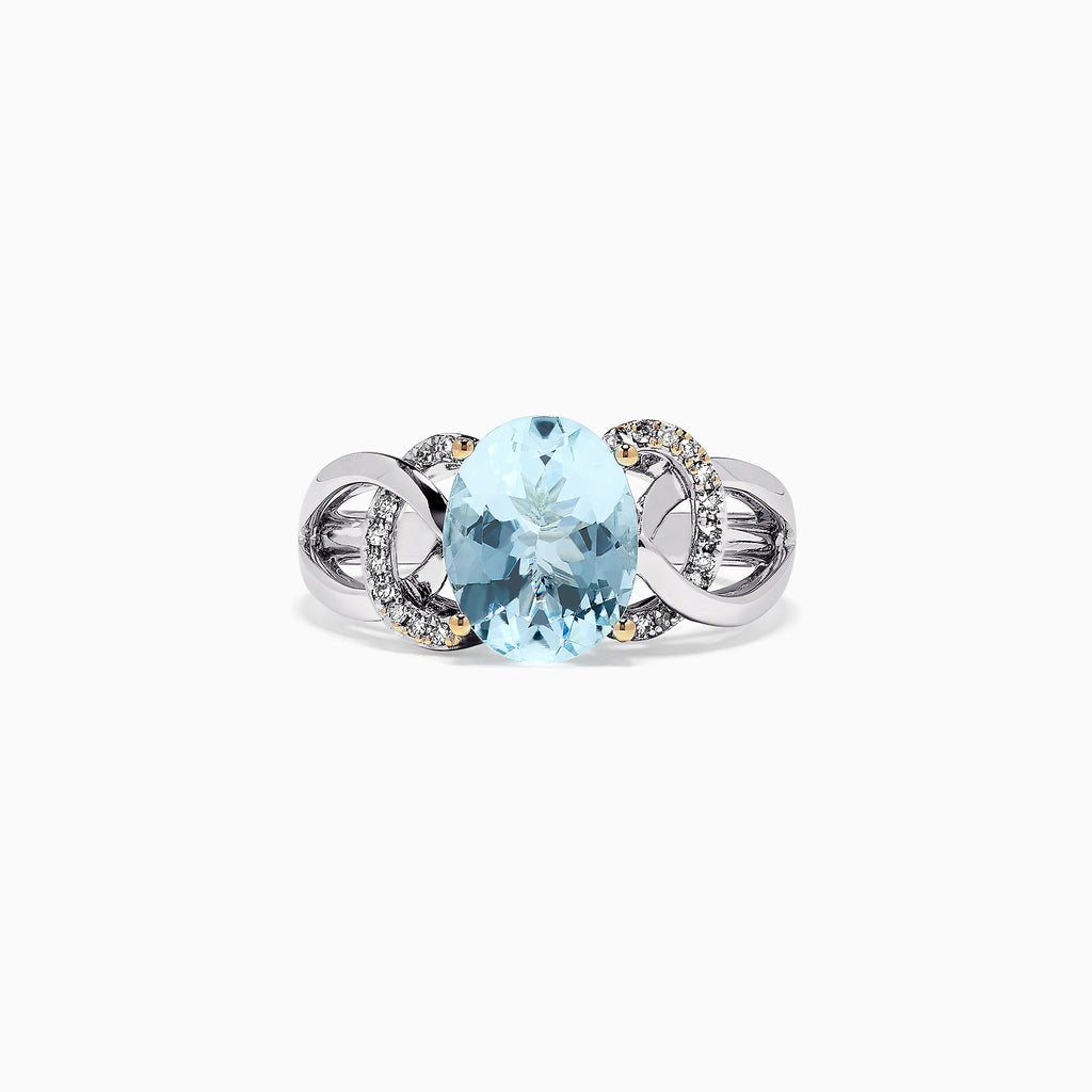 Effy Aquarius 14K White Gold Aquamarine and Diamond Ring, 2.48 TCW