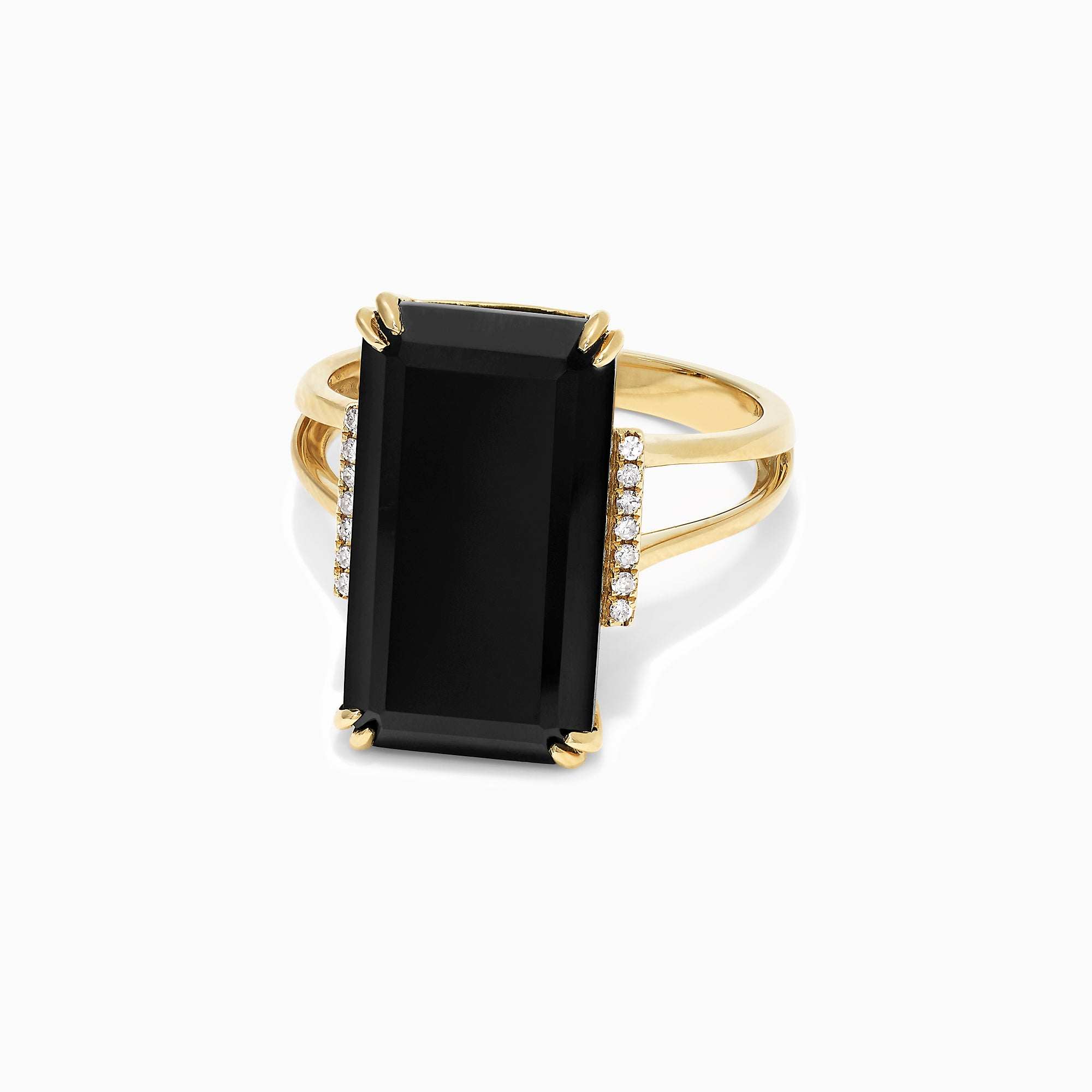 Effy Eclipse 14K Yellow Gold Onyx and Diamond Ring, 9.65 TCW