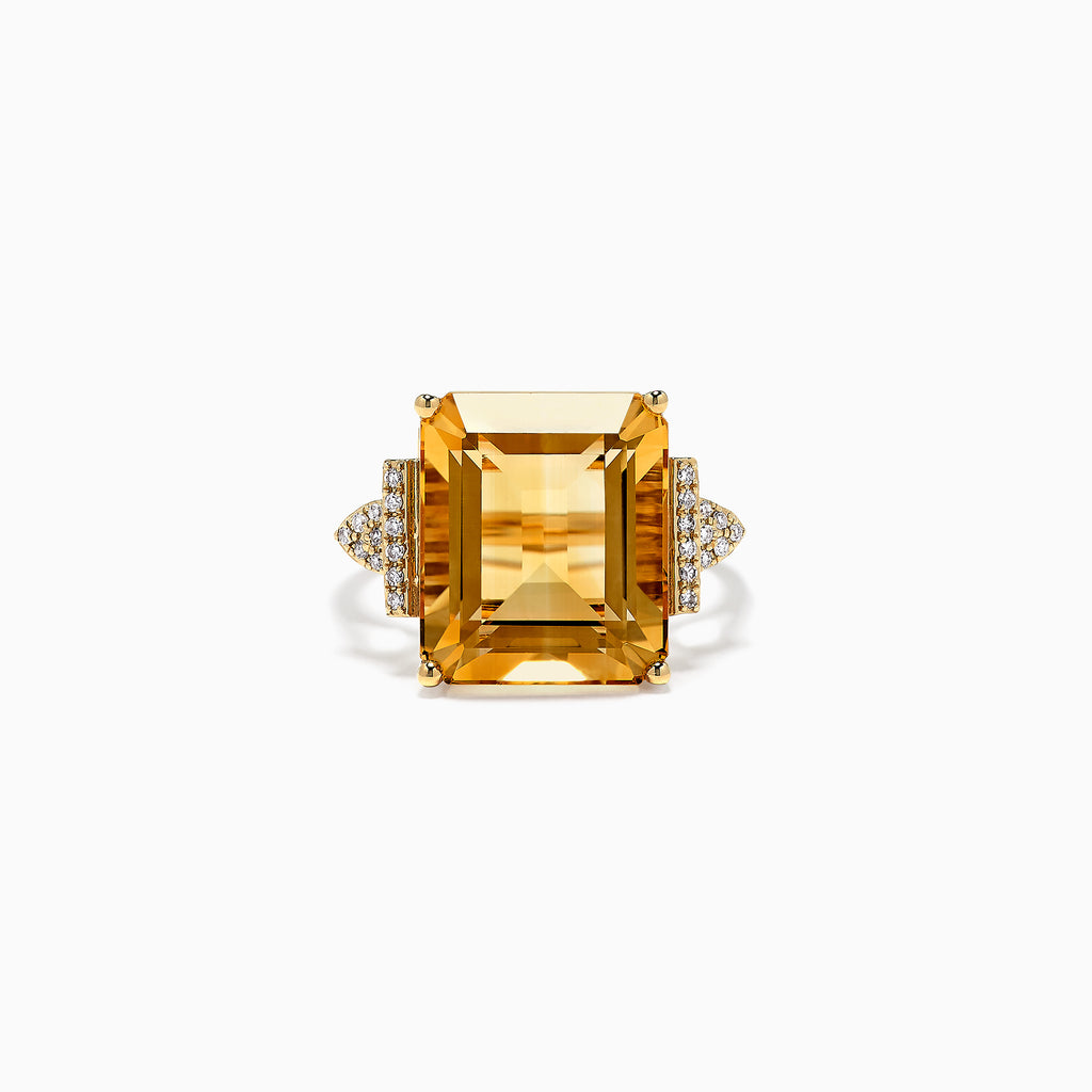 Effy Sunset 14K Yellow Gold Citrine and Diamond Ring, 12.39 TCW