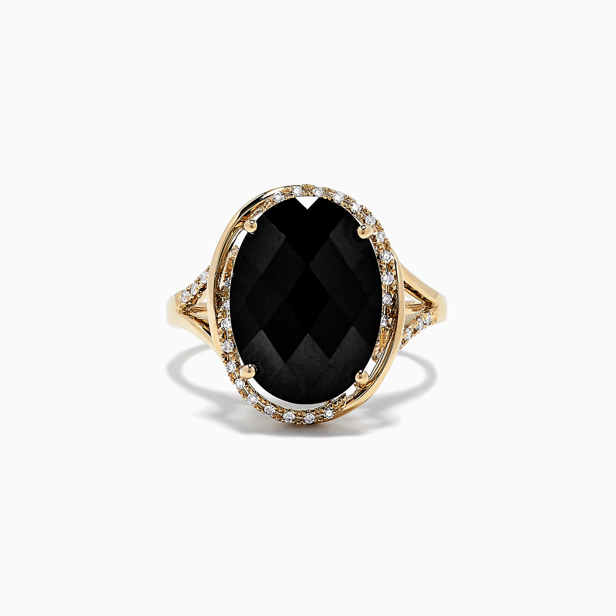 Effy Eclipse 14K Yellow Gold Onyx and Diamond Ring, 7.02 TCW
