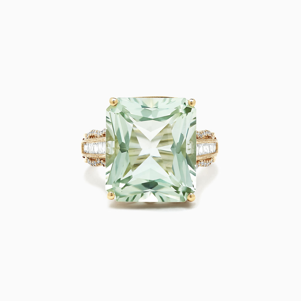 Effy 14K Yellow Gold Green Amethyst and Diamond Cocktail Ring, 16.35 TCW