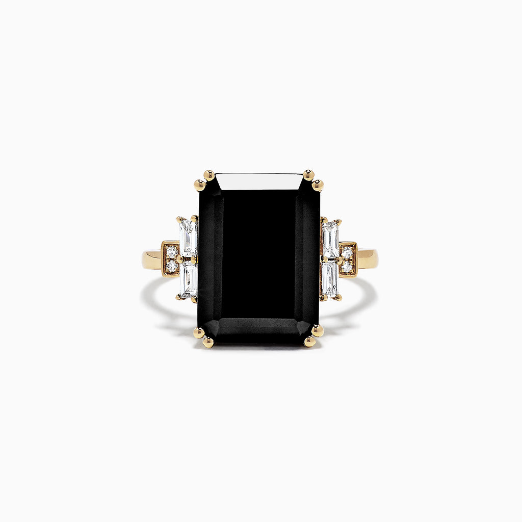 Effy Eclipse 14K Yellow Gold Onyx and Diamond Ring, 6.73 TCW