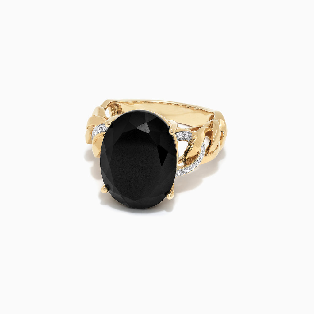 Effy 14K Yellow Gold Black Jade and Diamond Ring, 10.46 TCW