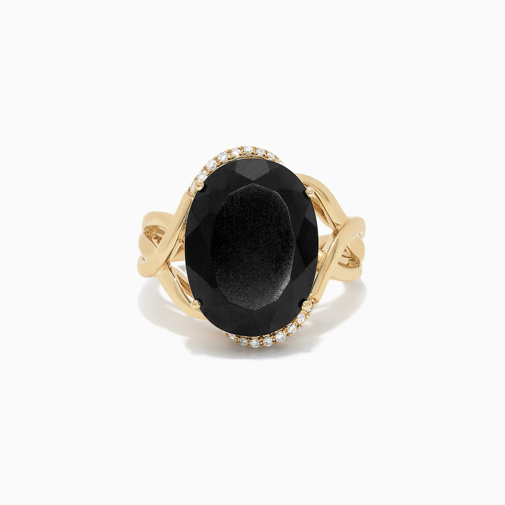 Effy 14K Yellow Gold Black Jade and Diamond Ring, 10.47 TCW