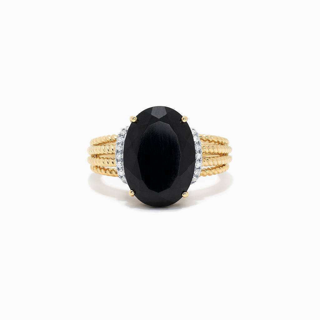 Effy 14K Yellow Gold Black Jade and Diamond Ring, 6.94 TCW
