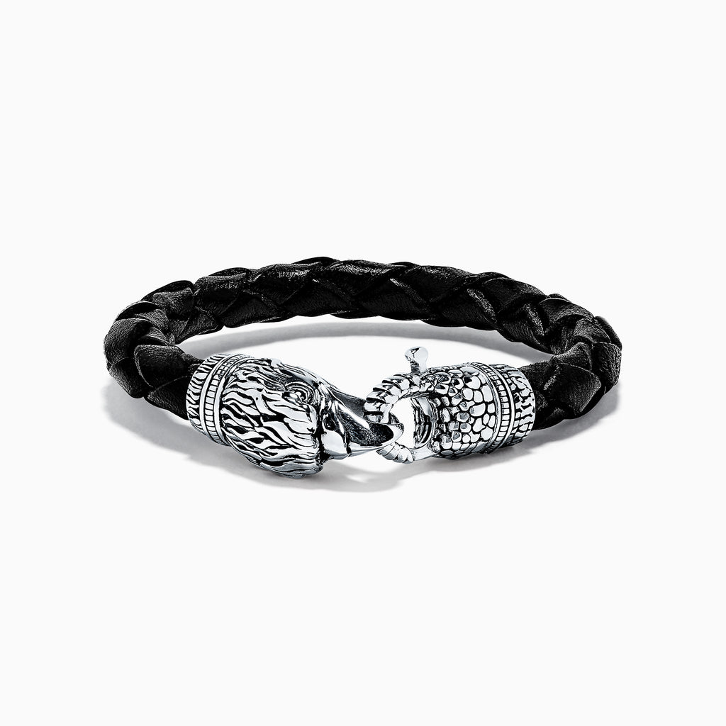 Effy Men's Sterling Silver Leather Eagle Bracelet