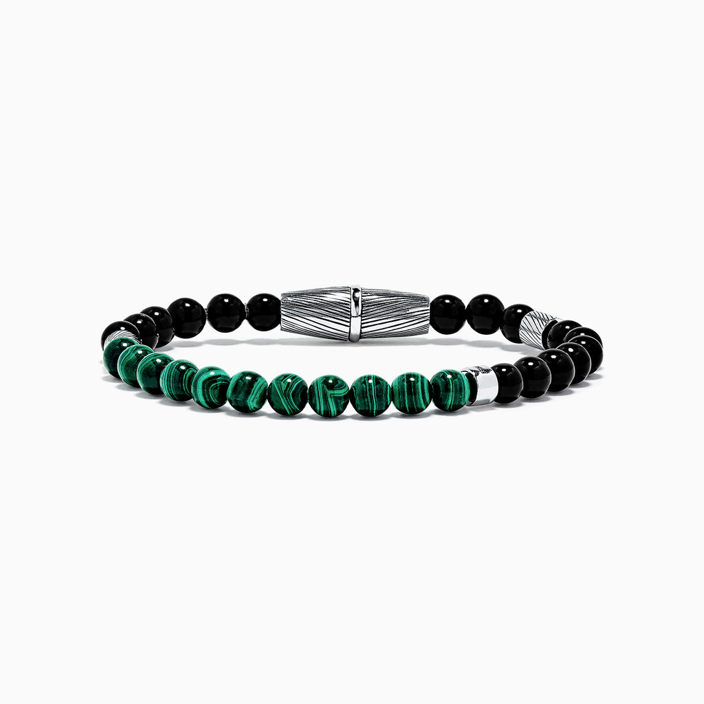 Effy Men's Sterling Silver Onyx and Malachite Bracelet