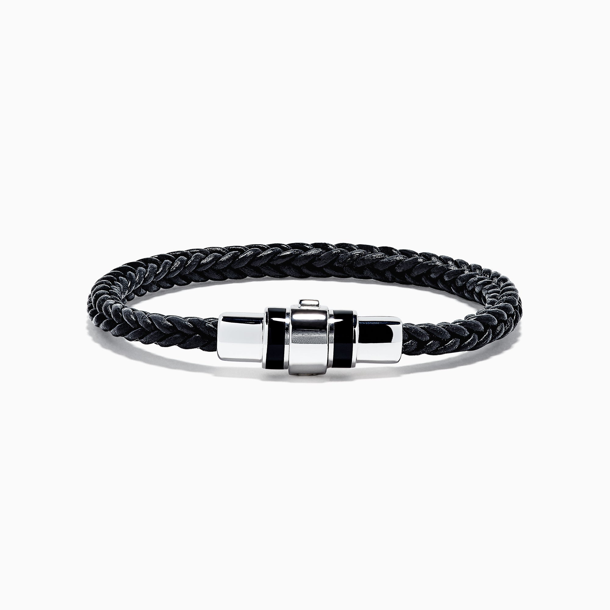 Effy Men's Sterling Silver and Enamel Leather Bracelet