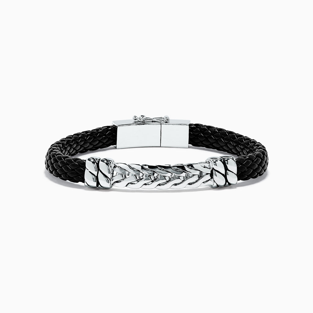 Effy Men's Sterling Silver Woven Leather Bracelet