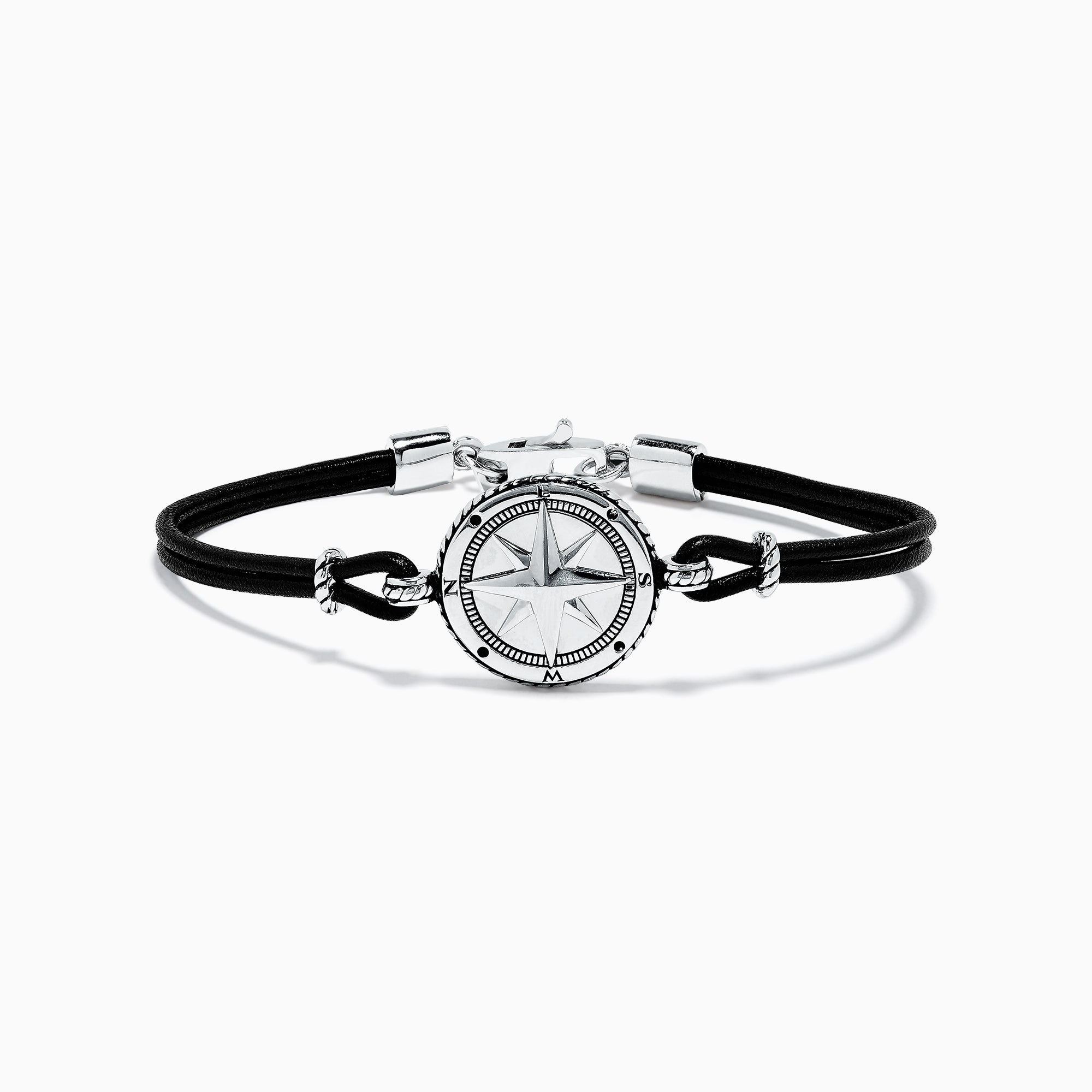 Effy Men's Sterling Silver Leather Compass Bracelet