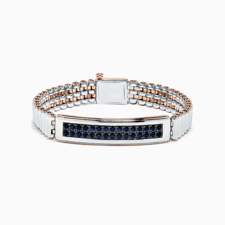Effy Men's Sterling Silver and Rose Gold Black Sapphire Bracelet, 4.20 TCW