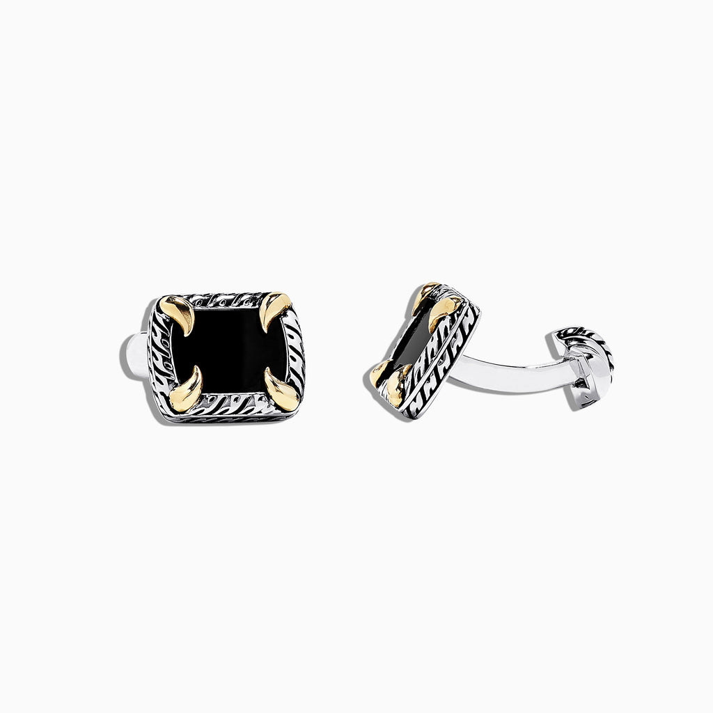 Effy Men's 925 Sterling Silver and 18K Yellow Gold Onyx Cufflinks, 8.00 TCW
