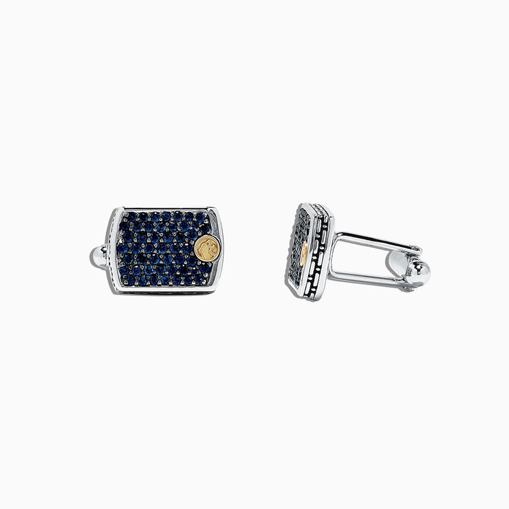 Effy Men's 925 Sterling Silver and Blue Sapphire Cufflinks, 2.45 TCW