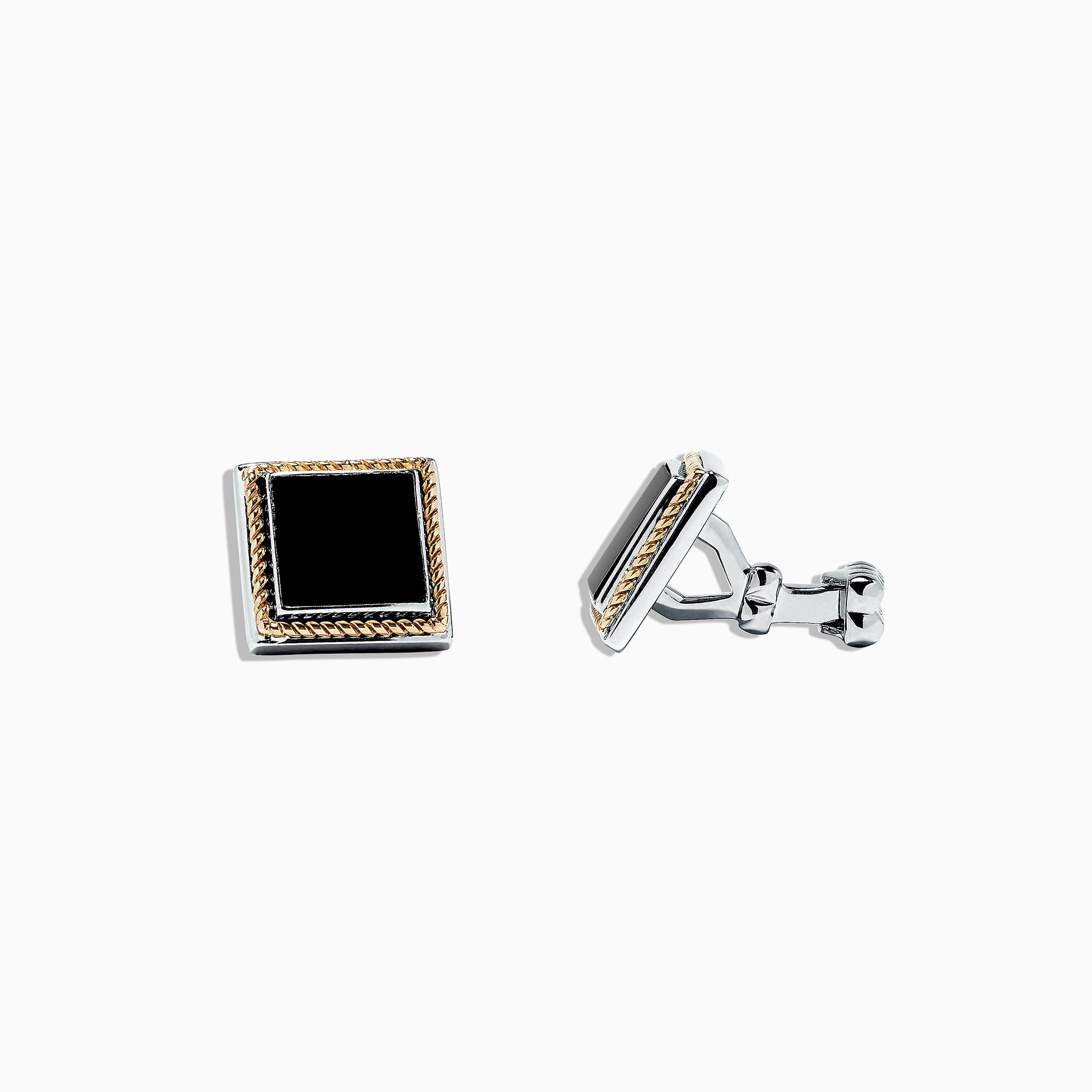 Effy Men's Sterling Silver and 14K Yellow Gold Onyx Cufflinks, 3.06 TCW