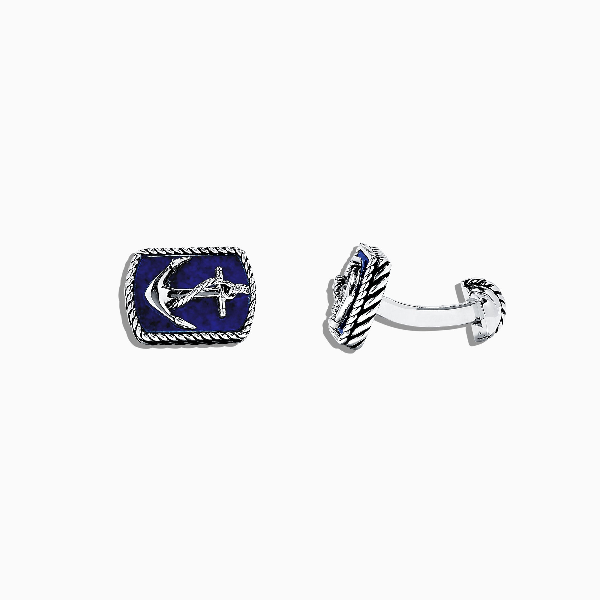 Effy Men's 925 Sterling Silver Lapis Lazuli Anchor Cufflinks, 9.85 TCW