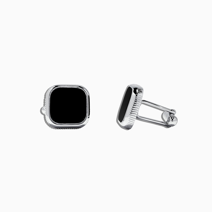 Effy Men's Sterling Silver and Black Agate Cufflinks, 5.40 TCW