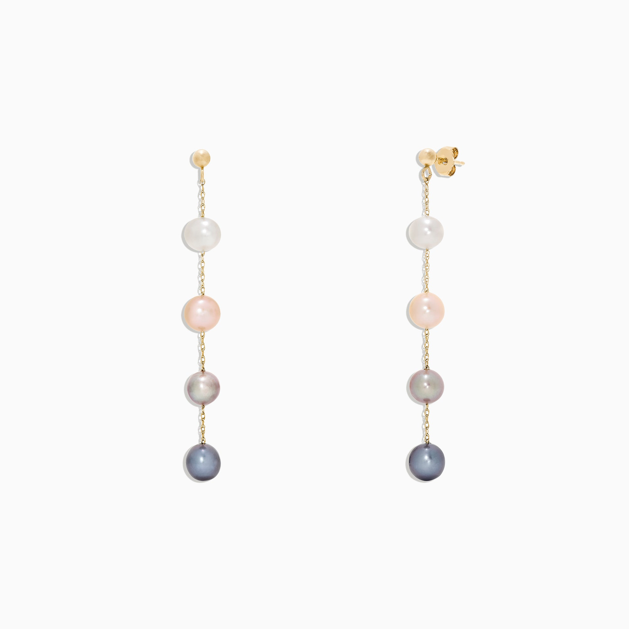 Effy 14K Yellow Gold Multi Color Cultured Pearl Earrings
