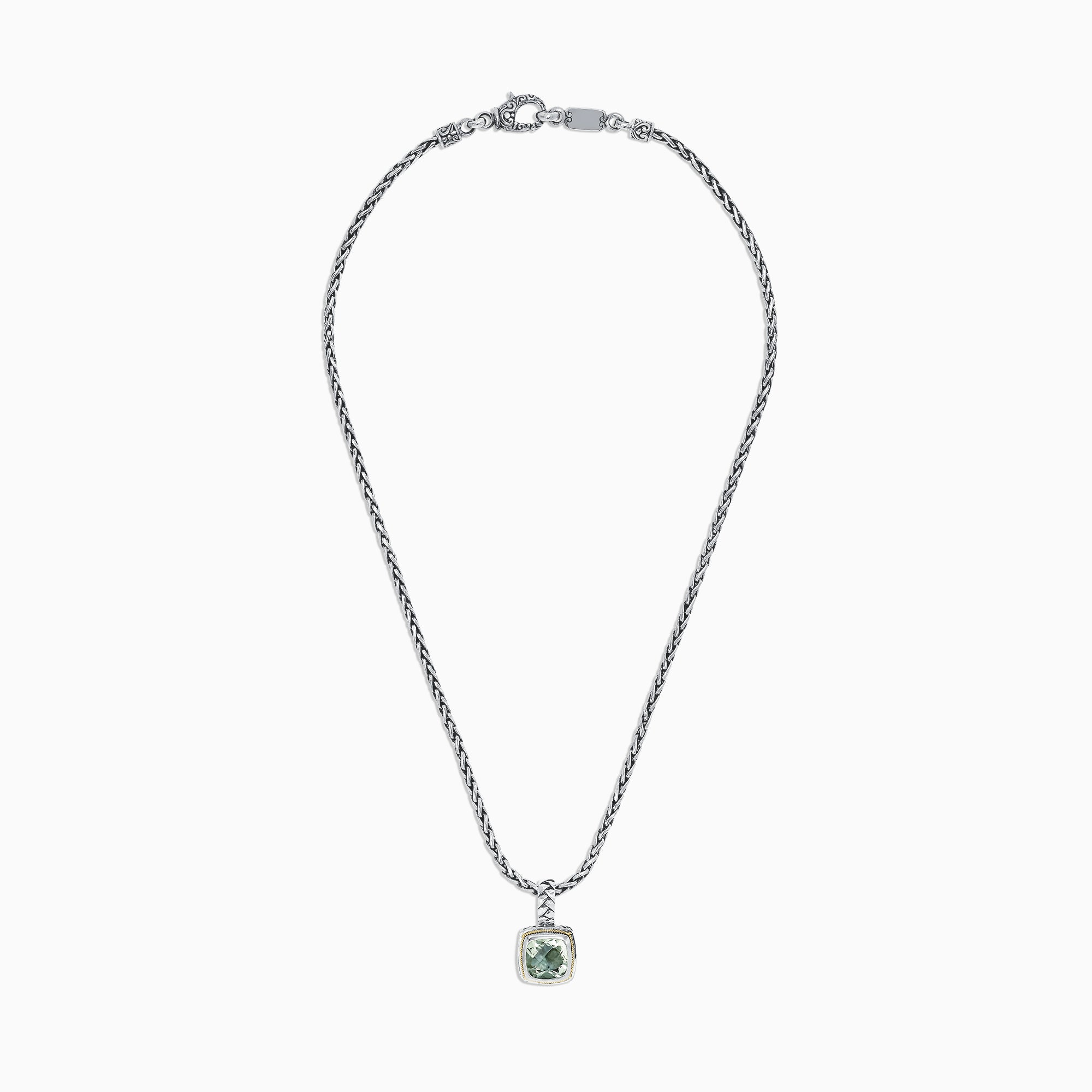 Effy 925 Sterling Silver & 18K Yellow Gold Green Amethyst Pendant, 4.00 TCW