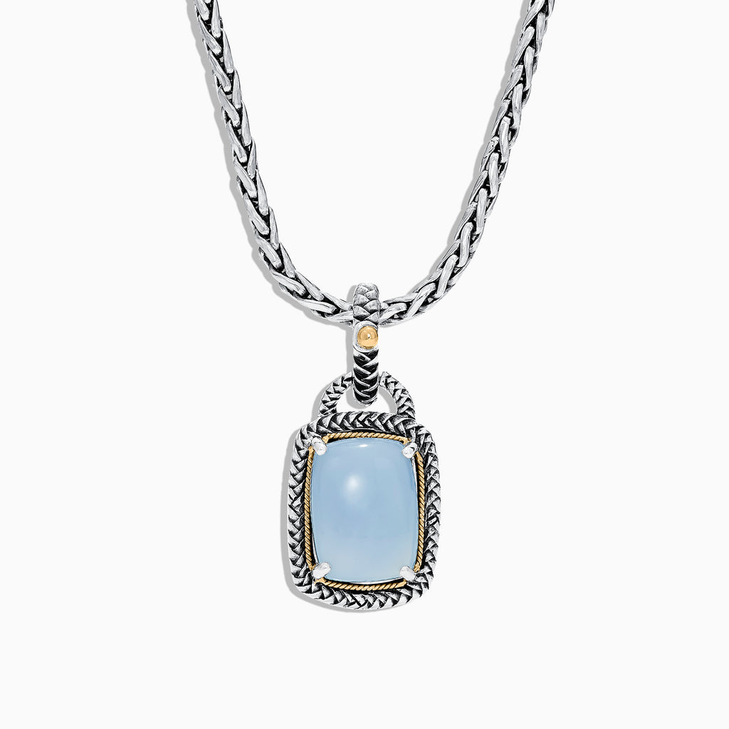 Effy 925 Sterling Silver & 18K Yellow Gold Chalcedony Pendant, 7.15 TCW