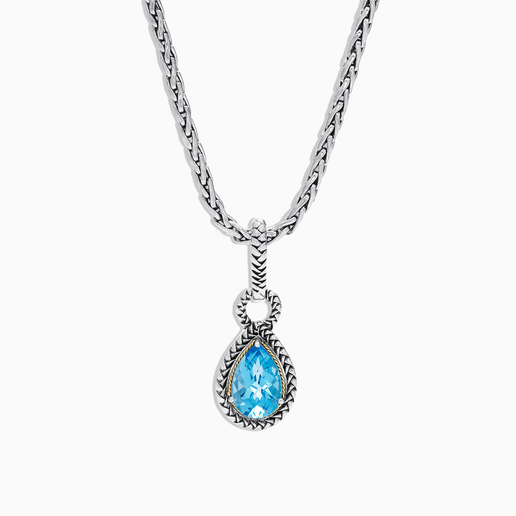 Effy 925 Sterling Silver & 18K Yellow Gold Blue Topaz Pendant, 3.14 TCW