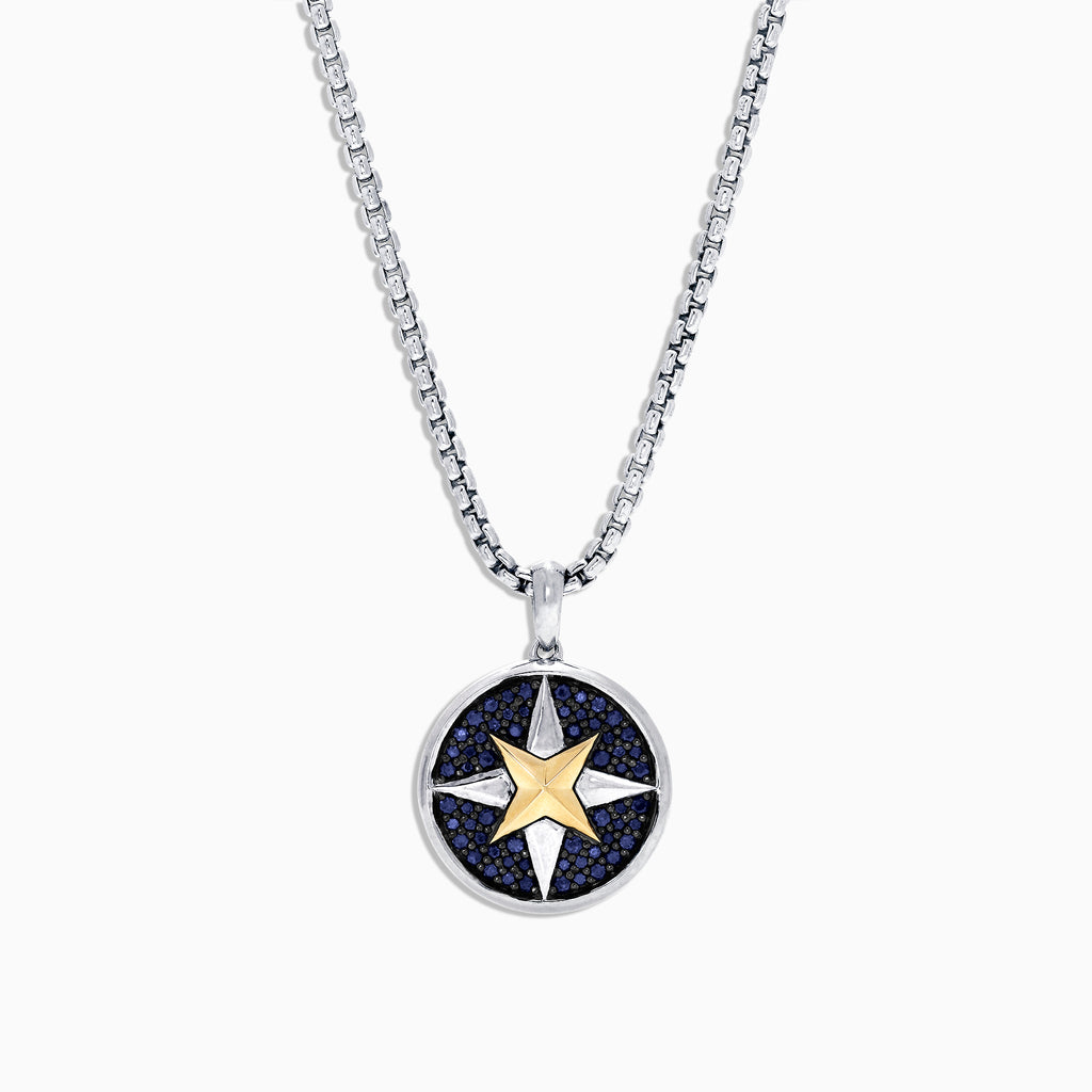 Effy Men's Sterling Silver & 18K Gold Sapphire Compass Pendant, 1.00 TCW