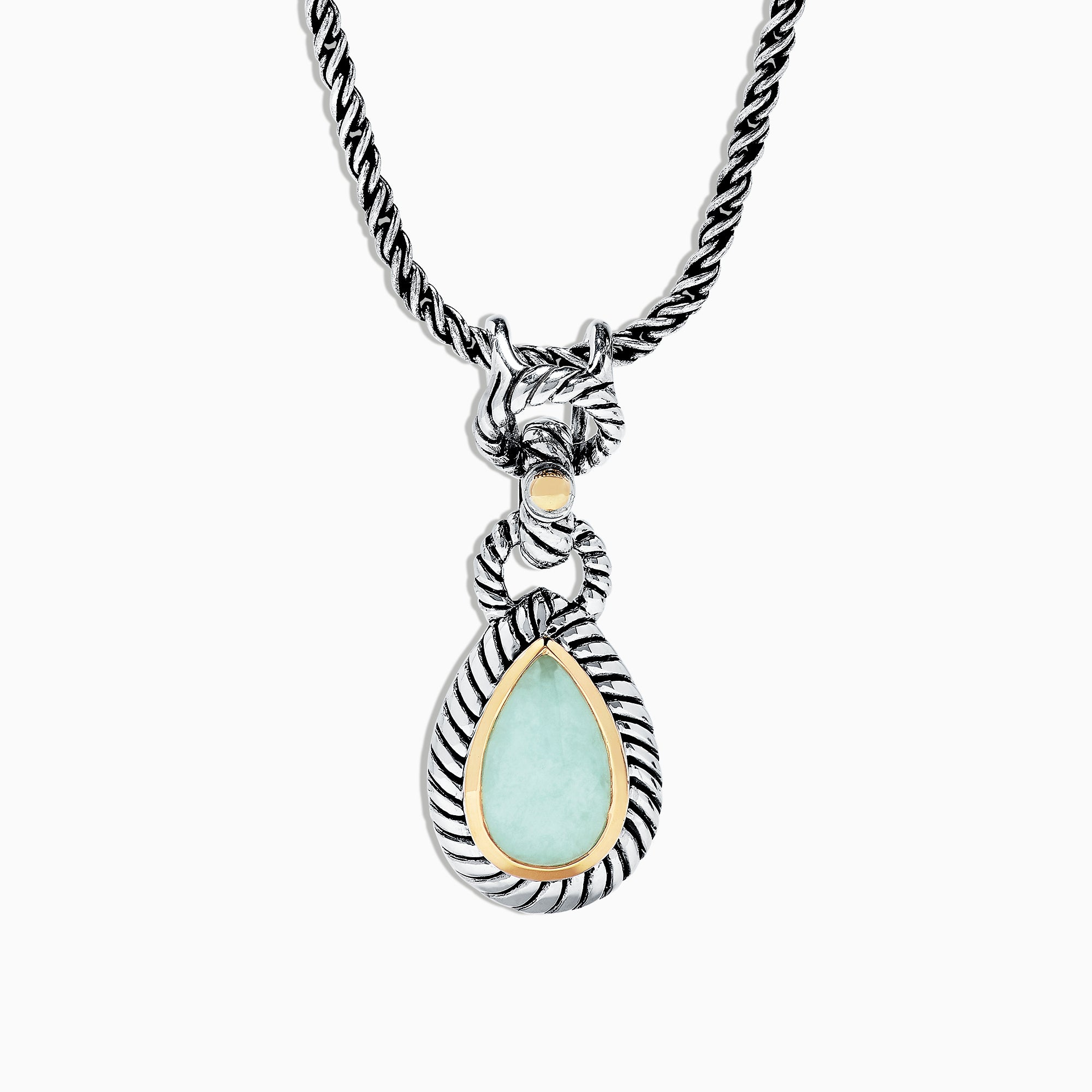 Effy 925 Sterling Silver & 18K Yellow Gold Jade Pendant, 3.80 TCW