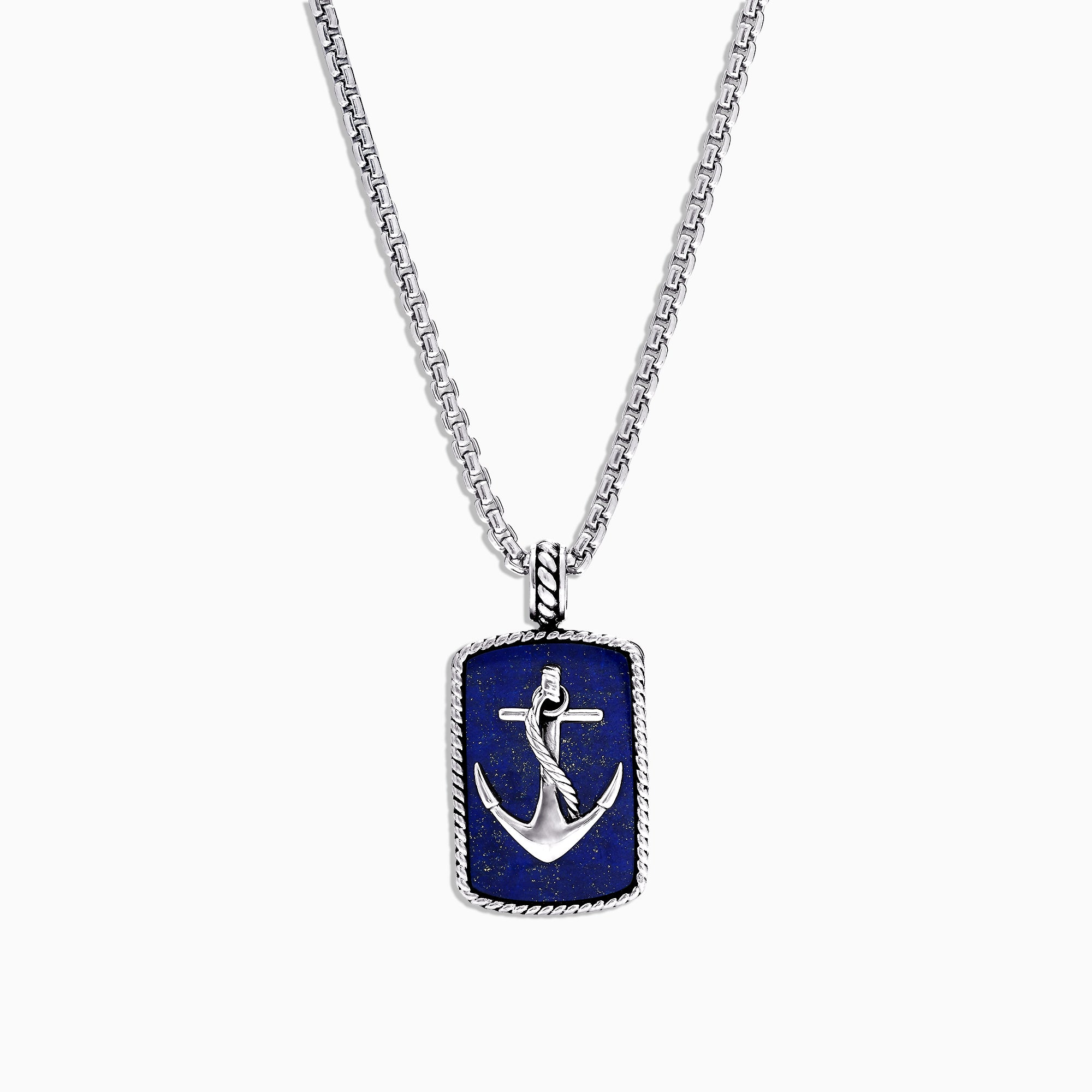 Effy Men's Sterling Silver Lapis Lazuli Anchor Dog Tag Pendant, 18.85 TCW