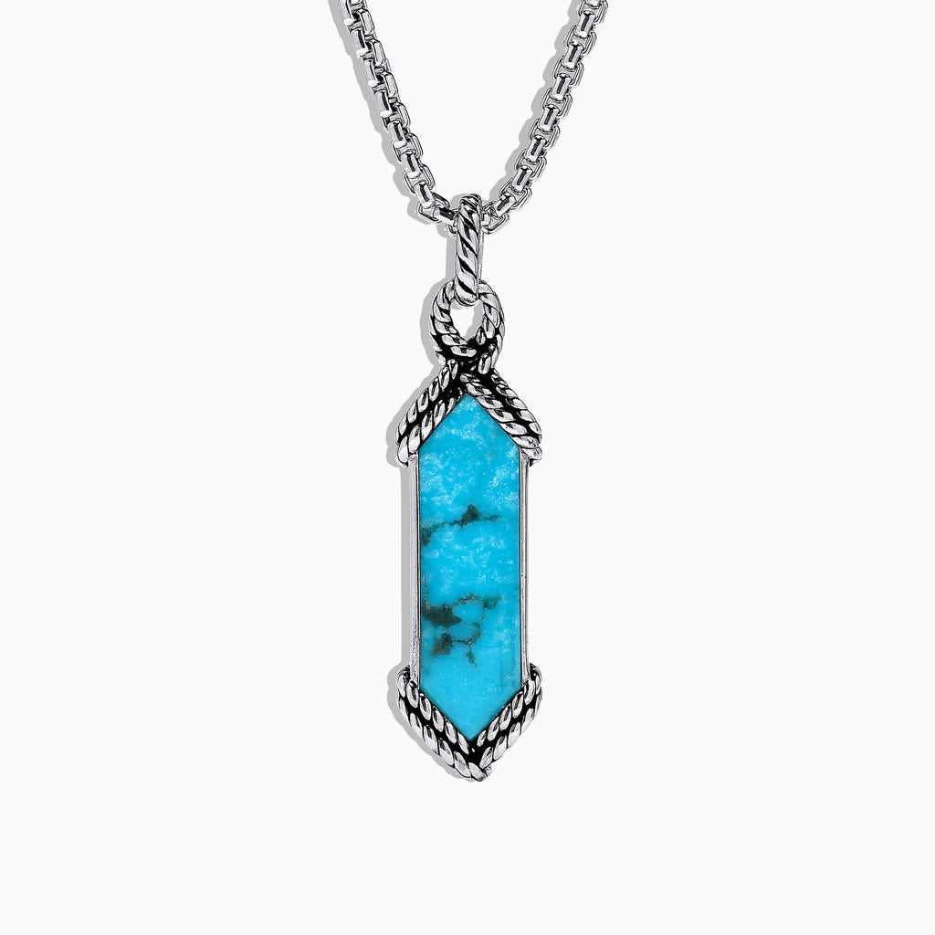 Effy Men's Sterling Silver Turquoise Tag Pendant, 5.90 TCW