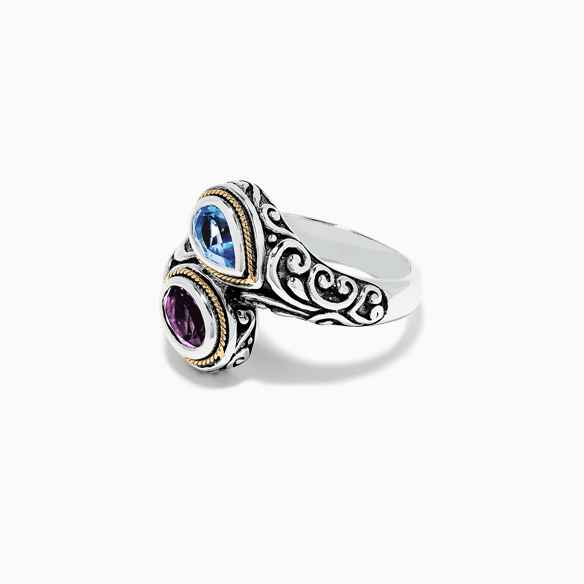 Effy 925 Sterling Silve & 18K Gold Topaz and Amethyst Ring, 1.62 TCW