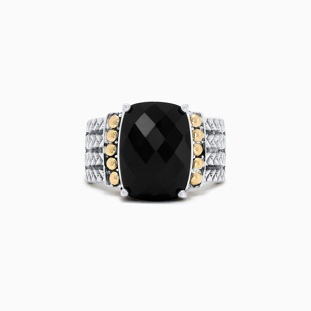 Effy 925 Sterling Silver & 18K Yellow Gold Onyx Ring, 6.00 TCW
