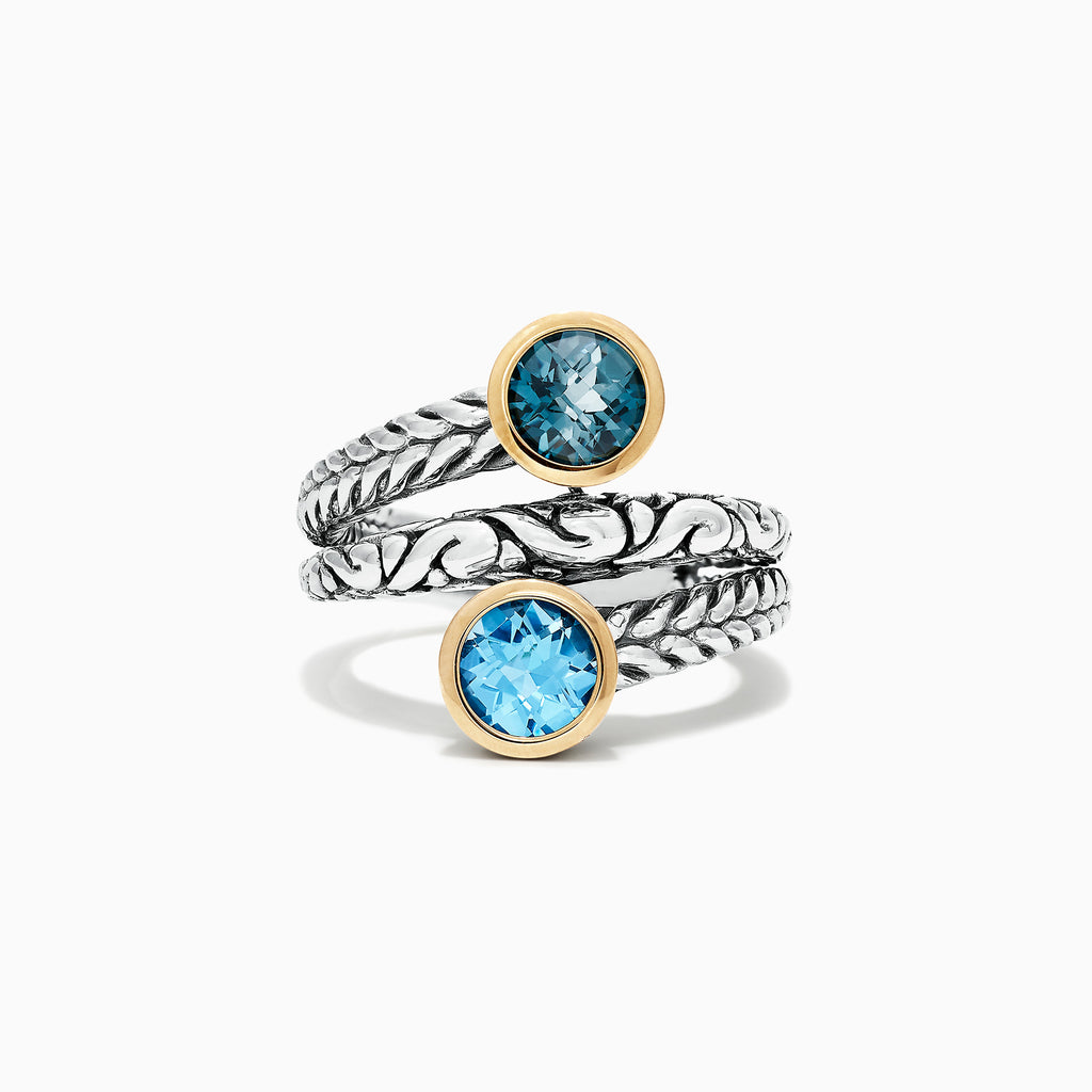 Effy 925 Sterling Silver & 18K Yellow Gold Blue Topaz Ring, 2.30 TCW