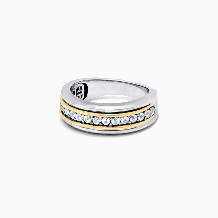 Effy Men's Sterling Silver & 18K Yellow Gold White Sapphire Ring, 0.80 TCW