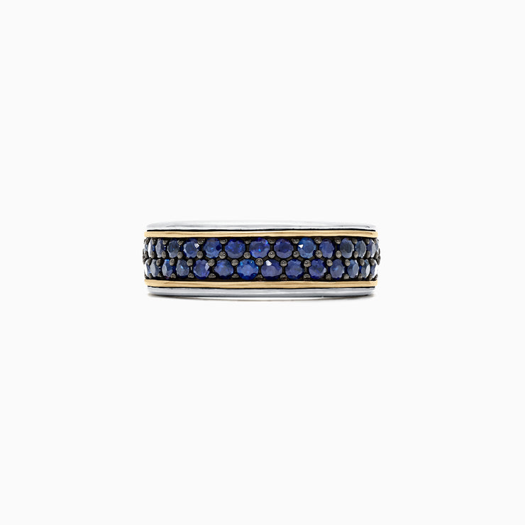 Effy Men's Sterling Silver & 18K Yellow Gold Blue Sapphire Ring, 1.45 TCW