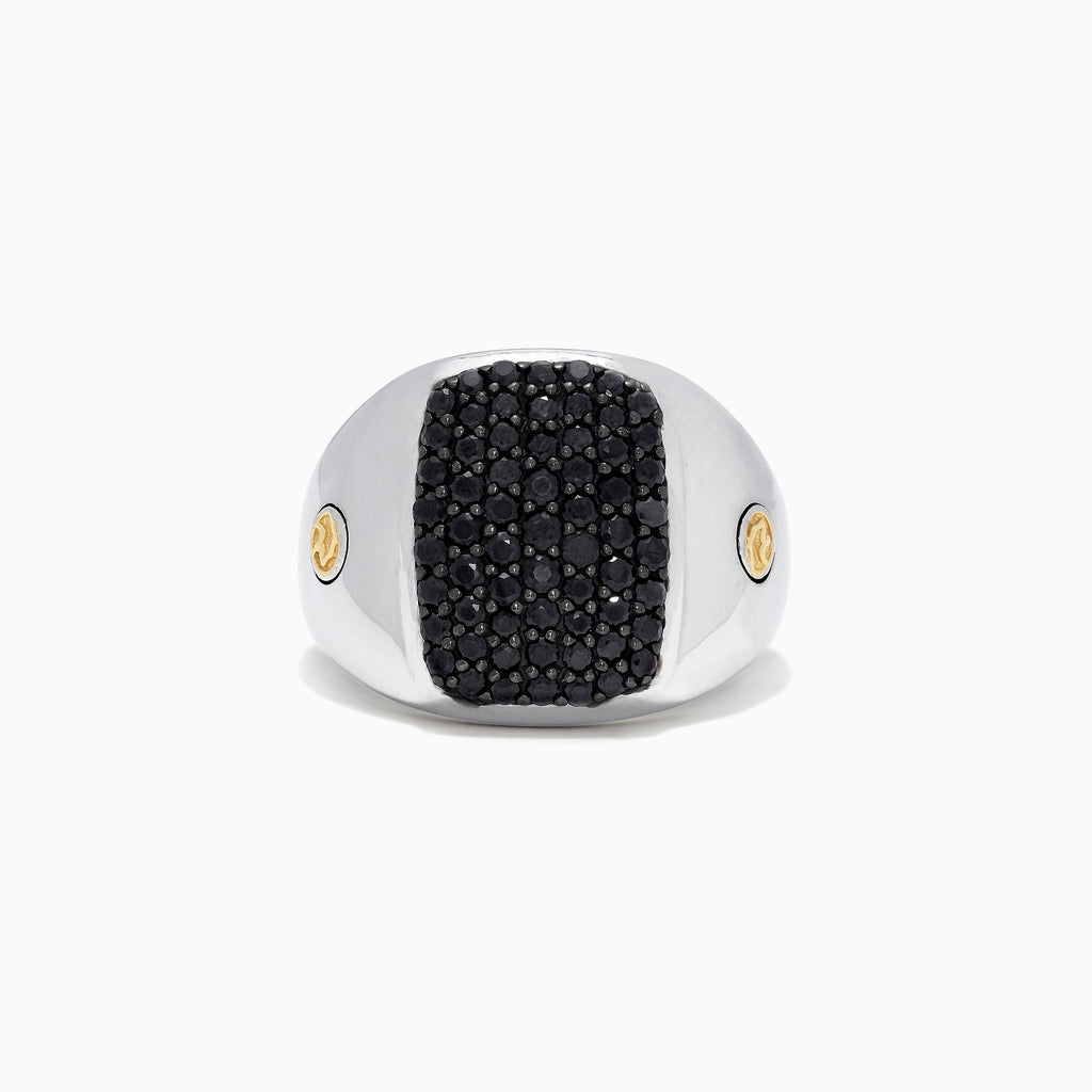 Effy Men's Sterling Silver & 18K Yellow Gold Black Sapphire Ring, 1.45 TCW