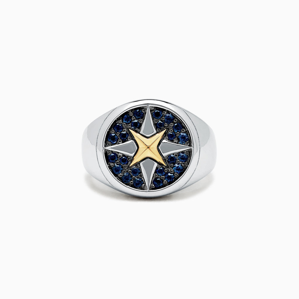 Effy Men's Sterling Silver and 18K Yellow Gold Blue Sapphire Ring, 0.75 TCW