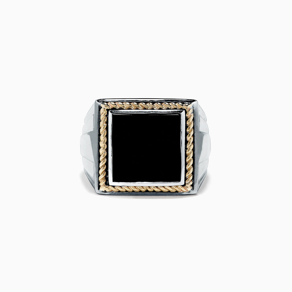 Effy Men's Sterling Silver and 14K Yellow Gold Onyx Ring, 1.53 TCW