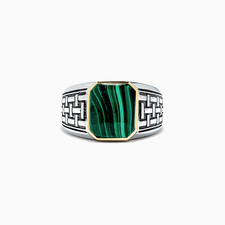 Effy Men's Sterling Silver and 14K Yellow Gold Malachite Ring, 6.05 TCW