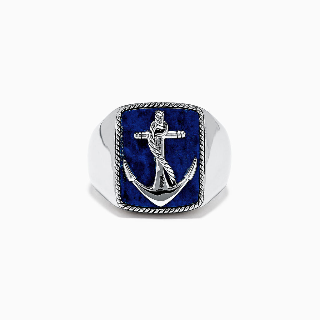 Effy Men's Sterling Silver Lapis Lazuli Anchor Ring, 5.90 TCW
