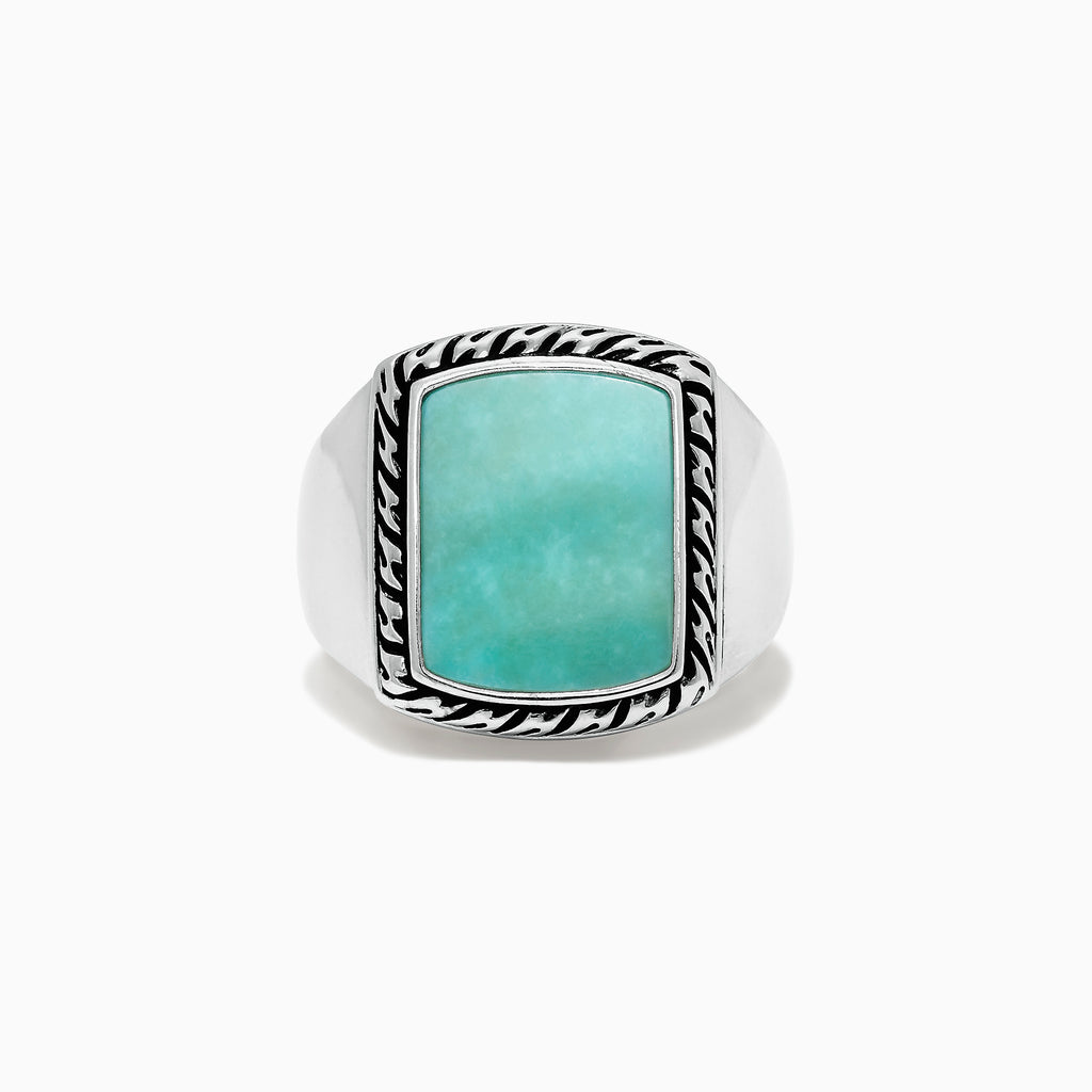 Effy Men's Sterling Silver Turquoise Signet Ring, 3.90 TCW